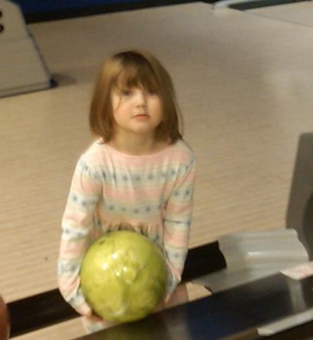 Meredithand a bowling ball